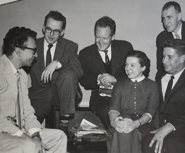 Dave Brubeck talking with four men and one woman