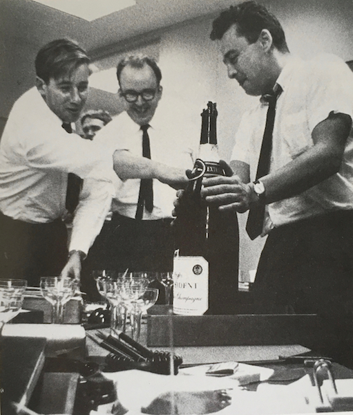 Peter Gzowski, Robert Fulford and Ken Lefolii with champagne