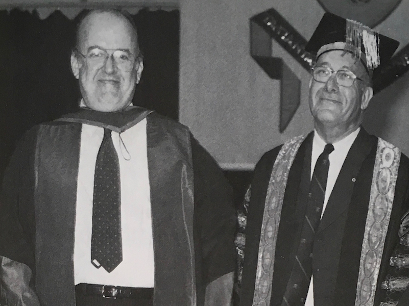 Robert Fulford and Allan Leaf in academic robes